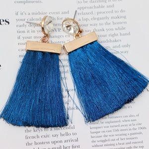 Blue Tassel Earrings with Gold & Rhinestone Detail